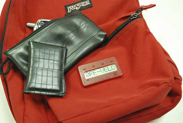 Re-Velo wallet, bag and backpack