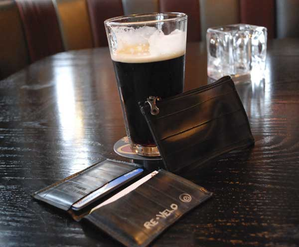 Re-Velo wallet, coin purse and a Guinness