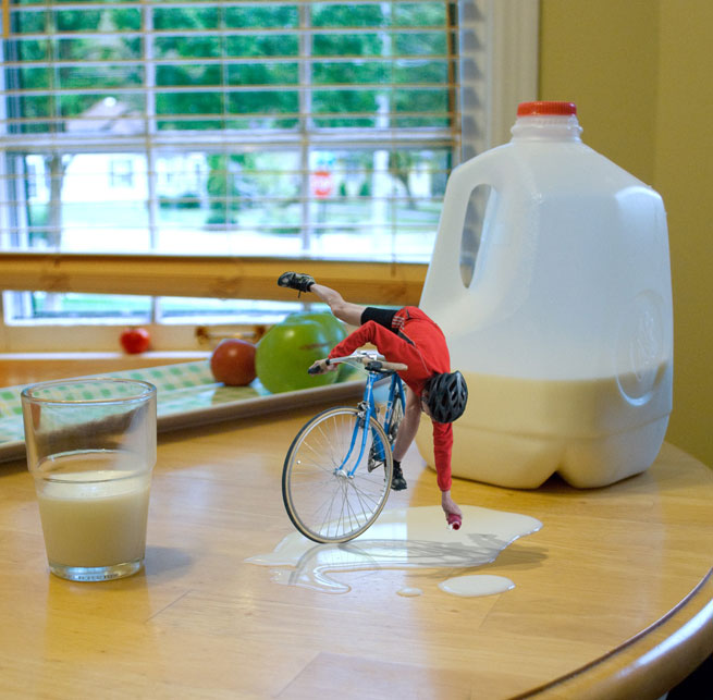 Bike Rider in milk